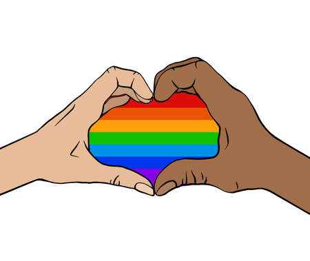 Outline illustration of a pair of human hands in rainbow heart. Greeting card love of same sex pair for valentines day. Pride and freedom in feelings. Lgbt couples. Vector picture for cards, banners