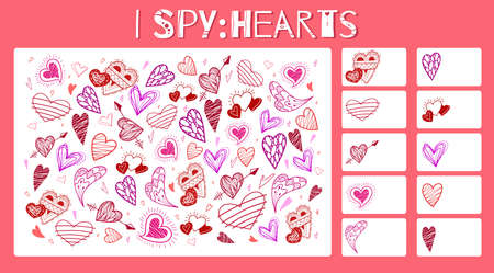 I spy game. Childrens educational fun. Count how many elements. Doodle hearts with hatching, arrows and wings. Valentines Day holiday. Vector template for preschool games.
