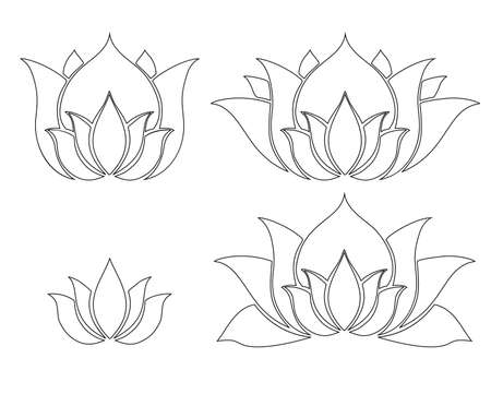 Set of different contour flowers of lotuses. Icons for yoga sports centers. Logos for spa centers and beauty salons. Vector outline natural floral elements. Simple and elegant forms.