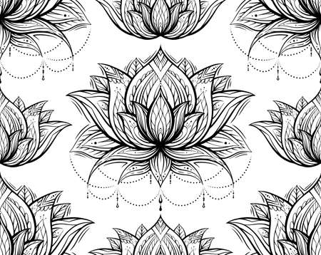 Tribal contour pattern with lotuses with decoration. Monochrome spiritual wallpaper. Water lilies with native pattern on a white background. Religious outline symbols for yoga centers.