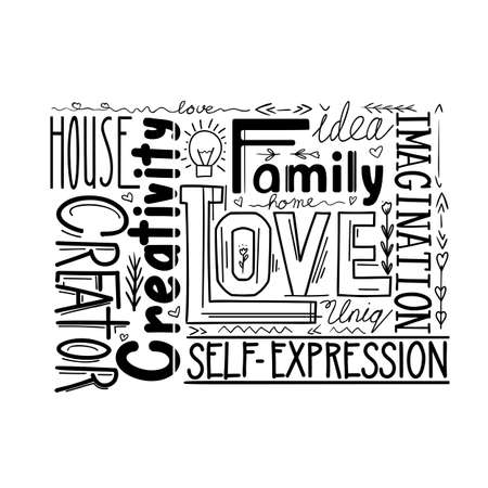 Lettering composition of different words. Human life values. Family, love and inspiration. Creativity and imagination. Black print phrase. Vector print quote with decoration for cards and print