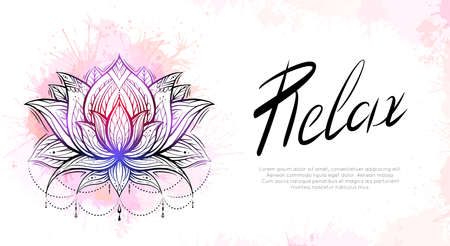 Horizontal template with tribal contour lotus, watercolor splashes and lettering relax. Religious spiritual postcard. Water lilies with native pattern. Banner with symbols for yoga centers.