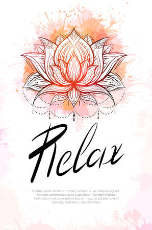 Relax vertical template with outline lotus tribal, watercolor splashes, lettering and place for text. Spiritual greeting card with water lily. Meditation. Religious banner with symbol for yoga centers