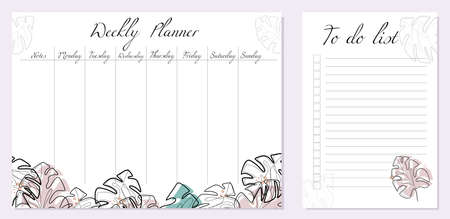 Set of day organization templates with abstract monstera leaves. Weekly planner and to-do list. Tropical monoline foliage with colored spots. Setting tasks for the day and for the week