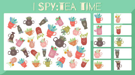 I spy game. Educational entertainment for preschool and younger school age. Spring cups of herbal teas. Flat cartoon style. How many items. Counting objects.