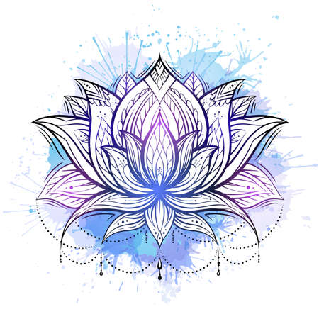 Contour boho illustration of lotus with watercolor splashes. Water lily flower with tribal pattern. Delicate sketch tattoo. Natural floral spiritual element. Spa and yoga object for postcards.