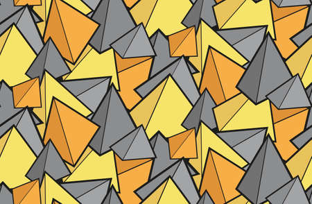 Seamless cartoon texture with 3d pyramids in trendy colors. Multi-colored contour prisms. Childrens bright fabric. Wallpaper with geometric shapes.