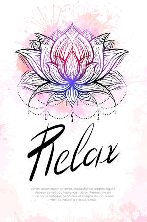 Time to relax. Vertical template with contour lotus, watercolor splashes and lettering. Postcard for the spa center. Voucher for the yoga hall. Religious spiritual symbol water lily.