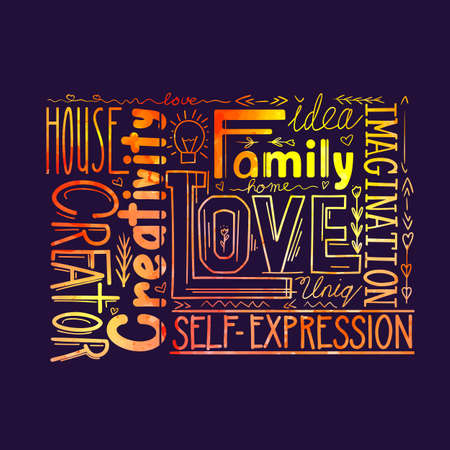 Watercolor lettering composition of different words on a dark background. Calligraphic quote. Love and creativity. Family values. Phrases for postcards and printing.