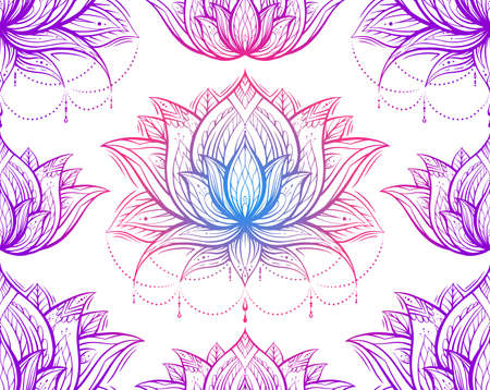 Tribal neon contour pattern with lotuses with decoration. Monochrome spiritual wallpaper. Water lilies with native pattern on a white background. Religious pink and violet outline symbols
