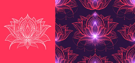 Set of card and seamless luxury tribal pattern with lotus on violet background. Luxurious contour texture with water lily flower. Natural wallpaper for spa centers. Meditation and sacred symbol.
