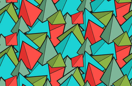 Seamless geometric pattern from multicolored pyramids. Childrens wallpaper from prisms. Fabric made of red and green cones. Texture for wrapping fabric.