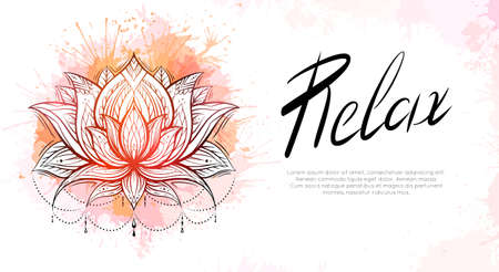 Horizontal template with tribal contour lotus, orange watercolor splashes and lettering relax. Religious spiritual postcard. Water lilies with native pattern. Banner with symbols for yoga centers.