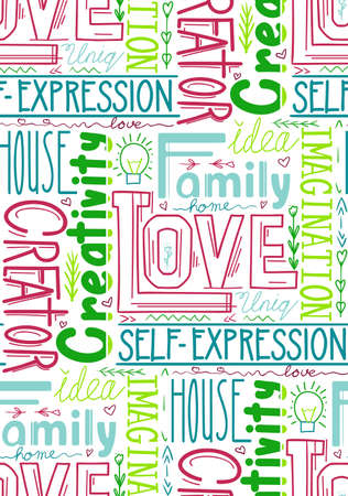 Seamless pattern of words. Wallpaper from lettering composition. Family and love. Creativity and self realization. Fabric of quotes and phrases. Background from multicolored letters on white backdrop Stock Illustratie