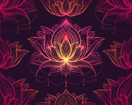 Seamless luxury tribal pattern with lotus with ornament on violet background. Luxurious contour texture with water lily flower. Natural wallpaper for spa centers. Meditation and sacred symbol.