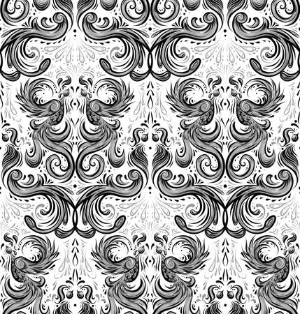 Seamless luxury vintage damask pattern. Animalistic wallpaper with curls, feathers, wings and tail. Natural monochrome texture for wrapping paper, tapestries and luxury fabrics. Stock Illustratie