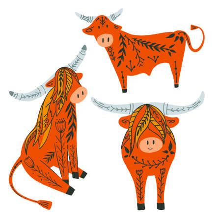 Set of cute cartoon bulls and bison with folk pattern. Oriental New Year symbol with floral pattern. Cattle with tribal ornaments. Flat illustration pets for stickers, cards and badges