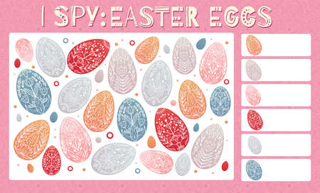 I spy game. Childrens educational fun. Count how many elements. Easter egg with folk decorations. Vector festive template for preschool games. Vector Illustratie