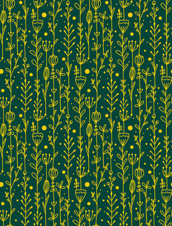 Seamless pattern with garland of doodle flowers and branches. Natural texture with petals and leaves. Vector wallpaper with yellow scribble drawings on green background