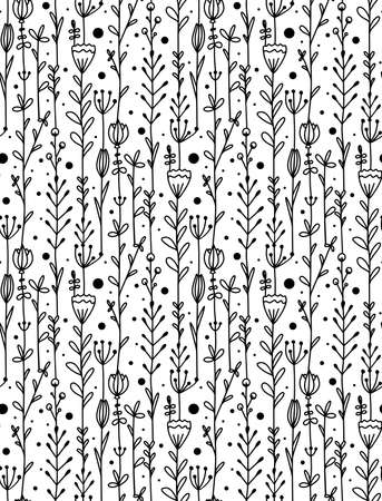 Seamless pattern with garland of doodle flowers and branches. Natural monochrome texture with petals and leaves. Vector wallpaper with scribble drawings on white background