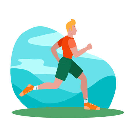 Running man in the park. Jogging. The modern person involved in sports. An athlete who cares about his health. Vector flat illustration