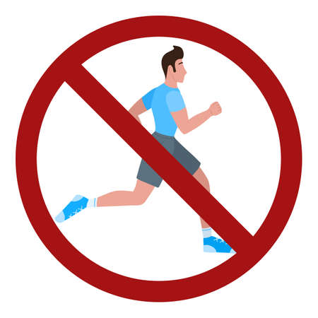 Running man in a prohibition sign. No jogging in the park. Ban on sports. Vector flat sign for stickers. Ilustración de vector
