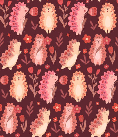 Seamless pattern with cute dancing hedgehogs with flowers and folk decoration on burgundy background. Delicate vector texture with animals and floral ornament. Fabric and wallpaper for the nursery Illustration