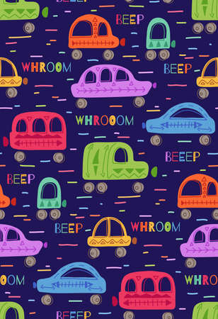 Cute childish pattern with hand drawn cars with tribal pattern and lettering on dark violet background. Vector texture with colorful machines. Cartoon vehicles with words and lines