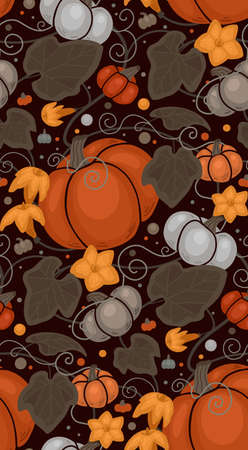 Seamless autumn pattern with pumpkins, foliage and vine curls. Vector flat texture with vegetables, dots and leaves. Warm color wallpaper with garden harvest on brown background