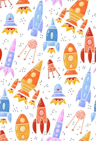 Seamless space texture with outline cartoon spaceships and dots on white background. Vector pattern with contour space shuttle and UFO flying up. Wallpaper universe adventure Illustration