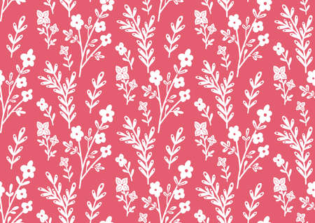 Seamless monochrome pattern with white contour of flowers and branches on pink background. Silhouettes of stems with flowers and foliage. Vector delicate floral texture with print of sakura