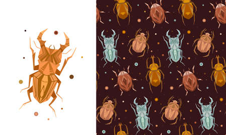 Set of card and seamless pattern with geometric insects and polka dot on brown background. Vector stylish texture and poster with stag beetle, bugs, flying ant, ladybug in retro colors.