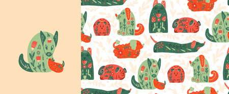 Set of card and seamless pattern with stylized dogs with folk patterns and natural decorations. Vector animalistic poster and texture with various puppy with tribal boho pattern.