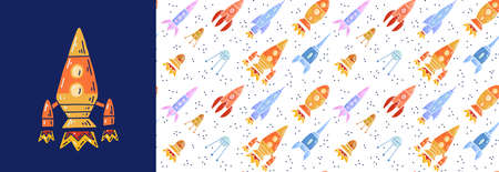 Set of card and seamless pattern with cartoon contour space ships and ufo flying diagonal up. Outline universe ships start up. Vector childish poster and texture of space shuttles and satellites