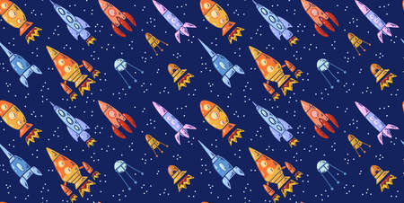 Seamless space texture with spaceships and stars on a dark background. Vector pattern with cartoon contour space shuttle flying up to the left. Wallpaper universe adventure