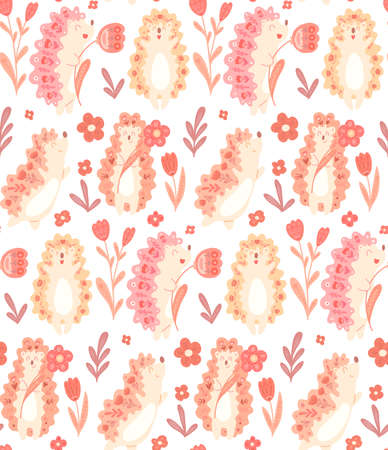 Seamless delicate pattern with cute dancing hedgehogs with flowers and folk decoration on white background. Gentle vector texture with animals and floral ornament. Fabric and wallpaper for the nursery Illustration