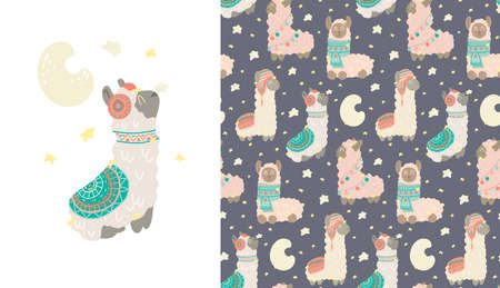 Set of card and cute childish pattern with constellations of lamas. Animalistic gentle poster and texture with stars and crescent moon at night. Alpacas with warm clothes with tribal decoration Illustration