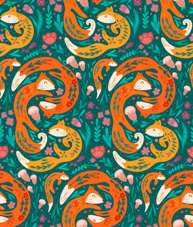 Seamless pattern with fox family with folk pattern and floral decoration. Vector hand drawn flat animal texture with plants, flower ornaments.