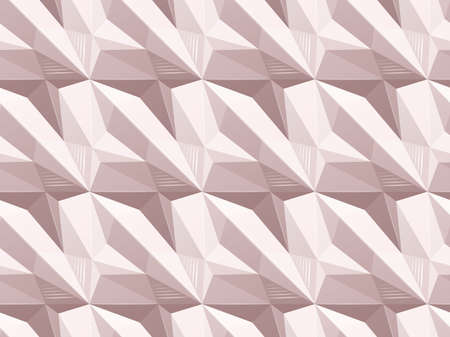Geometric patsel pattern with shadow illusion. Vector seamless architectural texture. Surface of the design with figured mosaic Illustration
