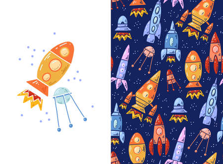 Set of card and pattern with cartoon contour space ships and satellite. Outline technological ships. Vector childish postcard and texture of space shuttle and rockets