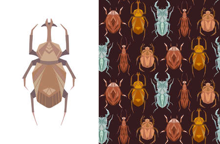 Set of card and seamless pattern with geometric insects on brown background. Vector stylish texture and poster with stag beetle, bugs, flying ant, ladybug in retro colors. Illustration