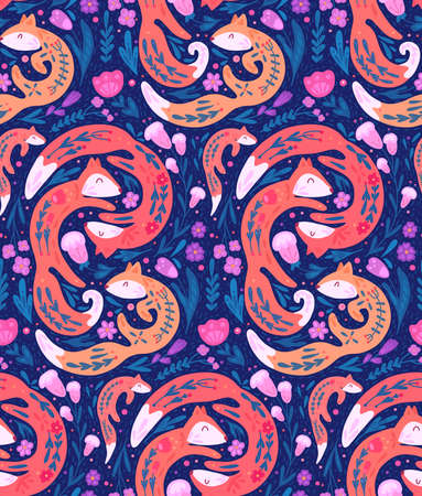 Seamless neon pattern with fox family with folk pattern and floral decoration on violet background. Vector flat hand drawn animal texture with natural ornaments.