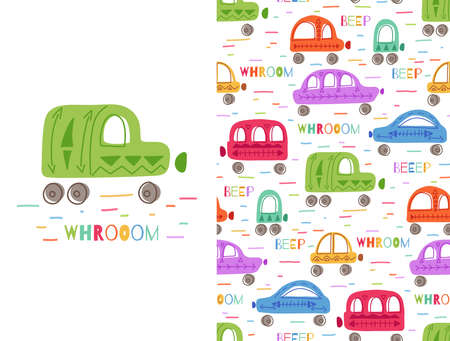 Set of cute colorful childish card and pattern with hand drawn cars with tribal pattern and lettering. Vector poster and texture with multicolored machines. Cartoon vehicles with words Illustration