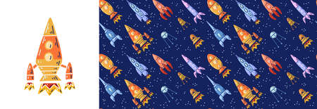 Set of card with rocket and seamless pattern with cartoon contour space ships and ufo flying diagonal up. Universe ships start up. Vector childish poster and texture of space shuttles and satellites