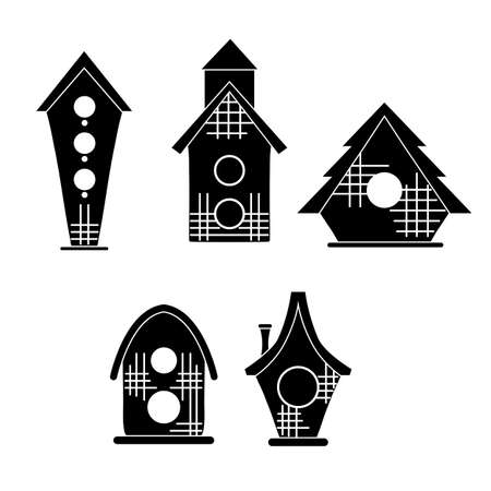 Set of black silhouette of simple bird houses on a white background. Vector print illustration of small homes. Icon with geometric cartoon birdhouses