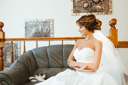 Pre-wedding preparation. Cute cat lying on sofa and bride looking at it. Bride wearing white wedding dress and veil. Indoor