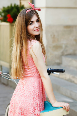 girl in the old European city 写真素材