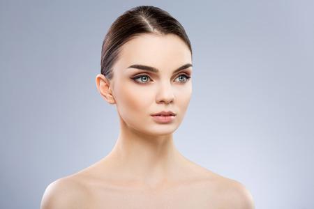 Beautiful model with big blue eyes