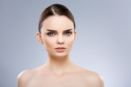Girl frowning eyebrows