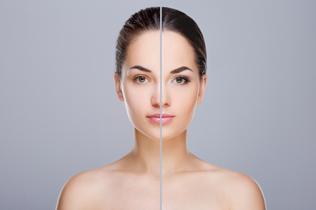 Comparison portrait with and make-up
